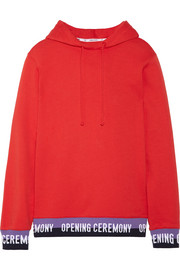Ribbed knit-trimmed cotton-jersey hooded top