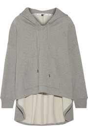 Velvet-appliquéd cotton-jersey hooded top