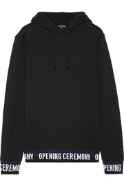 Ribbed knit-trimmed cotton-fleece hooded top