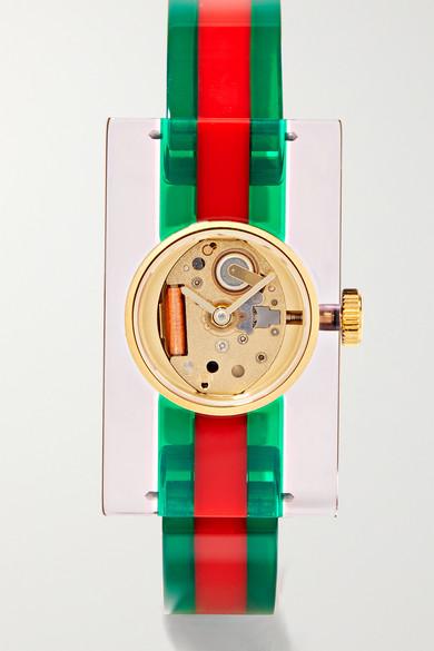 Ya143503 Fashion Capsule Plexiglas Transparent Watch in Green