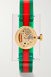 Plexiglas® and gold-tone watch