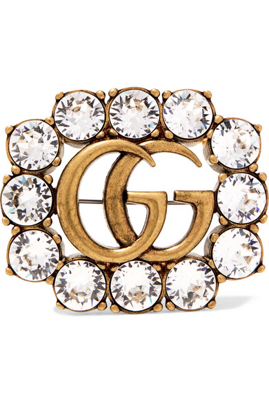 Gold-tone Crystal Brooch - one size Gucci zXltA2n