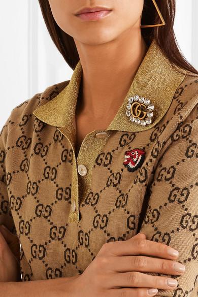 982ad5954 Gucci   Gold-tone crystal brooch   NET-A-PORTER.COM