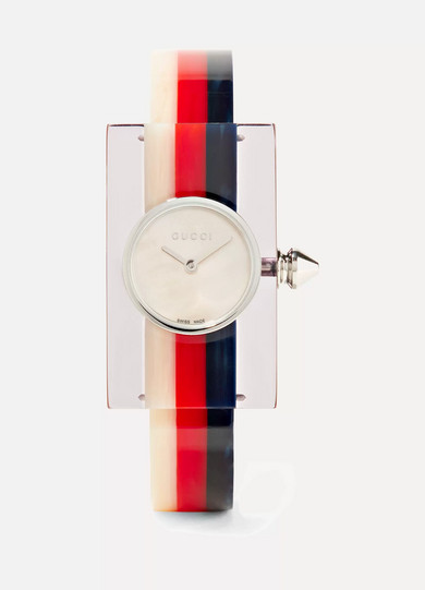 Plexiglas Bracelet Watch, 24Mm X 40Mm, Red