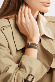 Striped canvas, leather and gold-tone watch