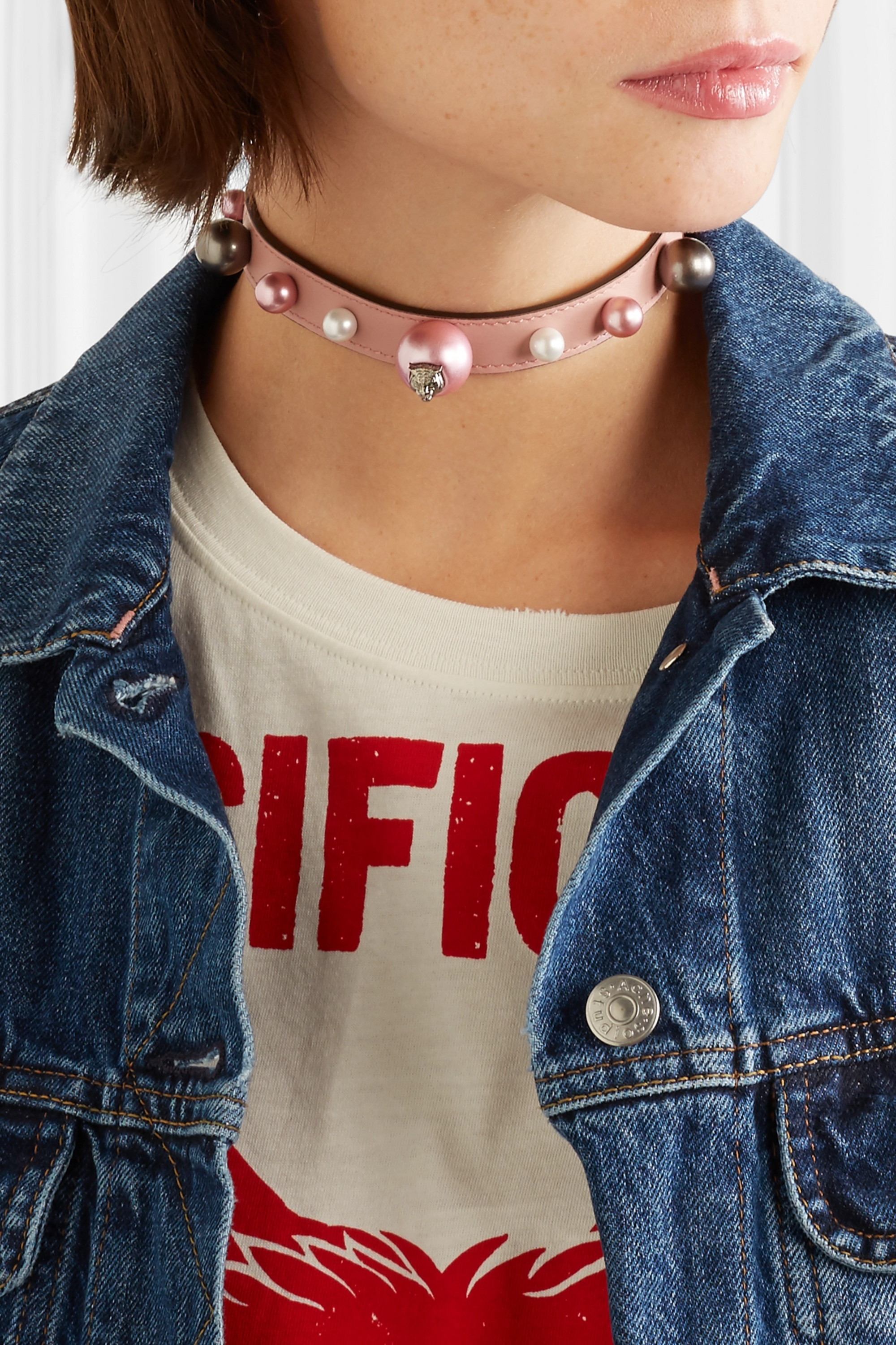Silver Colored Real Leather and Faux Blush Pink Pearl Choker