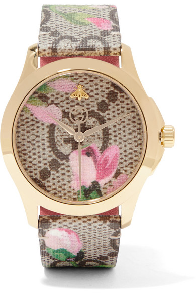 Gucci - Printed Coated-canvas, Leather And Gold-tone Watch - Brown