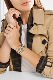 Printed coated-canvas, leather and gold-tone watch