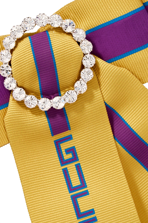 Gucci Bedruckte Brosche aus Ripsband mit Kristallen