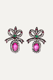 Gucci Felt, crystal and bead earrings