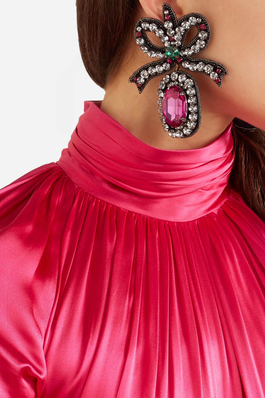 Gucci Felt, crystal and bead earrings