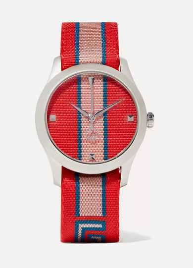 Striped Canvas And Stainless Steel Watch, Red