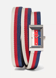 Striped canvas, leather and silver-tone watch
