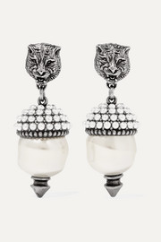 Gucci Silver-tone faux pearl earrings