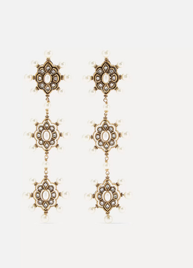 Gucci - Gold-tone Faux Pearl And Crystal Earrings