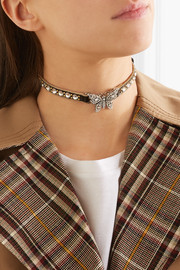 Gucci Leather, gold-plated and crystal choker