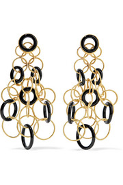 Hawaii 18-karat gold onyx earrings