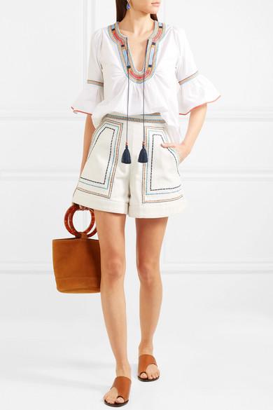 Talitha Shorts aus Baumwoll-Twill mit Stickerei