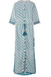 Ira fringed printed silk and cotton-blend maxi dress