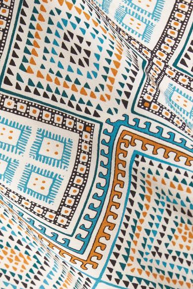Talitha Maghreb Morgenmantel aus bedrucktem Crêpe de Chine aus Seide mit Pompons