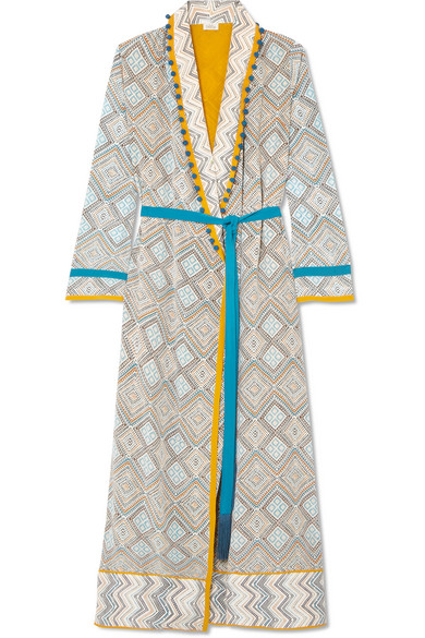 Talitha MAGHREB POMPOM-EMBELLISHED PRINTED SILK CREPE DE CHINE ROBE