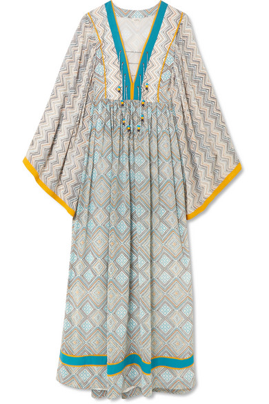 Jasmin Lace-Up Front Long Kimono Silk Caftan With Pompom Trim in Azure