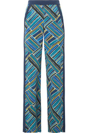 Bead-embellished printed silk wide-leg pants