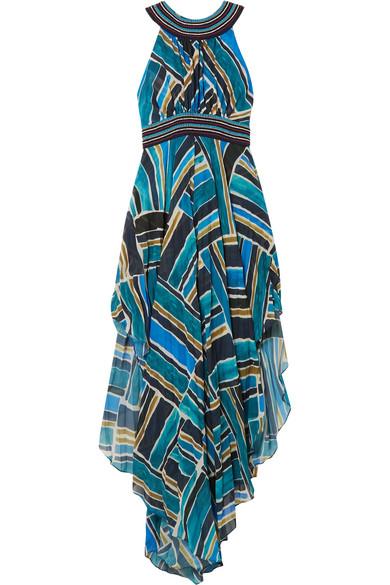 Talitha - Embellished Printed Chiffon Maxi Dress - Blue