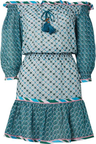 Talitha Leya schulterfreies Minikleid aus einer bedruckten Seiden-Baumwollmischung