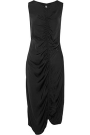 Raquel Allegra Gathered satin-jersey midi dress