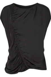 Raquel Allegra Gathered satin-jersey top