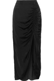 Gathered satin-jersey midi skirt