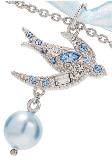 Miu Miu Gingham Cotton, Silver-tone, Crystal And Faux Pearl Choker - Light blue