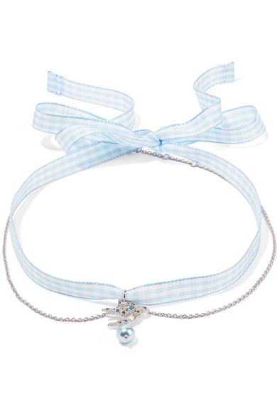 Gingham Cotton, Silver-Tone, Crystal And Faux Pearl Choker