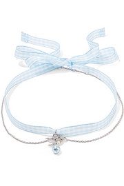Miu Miu Gingham cotton, silver-tone, crystal and faux pearl choker