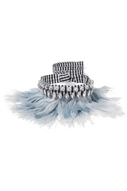 Gingham cotton, feather and crystal choker