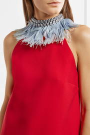 Miu Miu Gingham cotton, feather and crystal choker