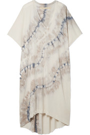 Raquel Allegra Oversized tie-dyed cotton-blend stretch-jersey dress