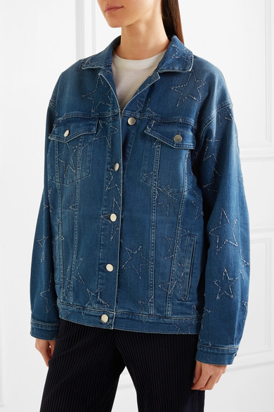 Stella McCartney Jeansjacke in Distressed-Optik und Oversized-Passform