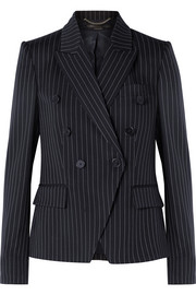 Double-breasted pinstriped wool-blend blazer