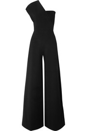 One-shoulder stretch-knit jumpsuit