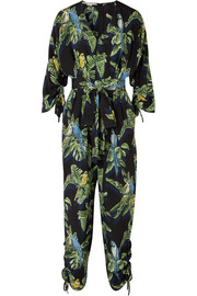 Printed silk crepe de chine jumpsuit