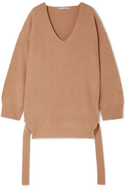 Oversized ribbed cashmere and wool-blend sweater