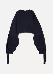 Stella McCartney Cropped ribbed cashmere-blend hooded sweater