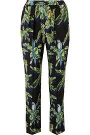 Stella McCartney Printed silk crepe de chine tapered pants