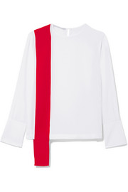 Stella McCartney Draped two-tone silk-crepe top