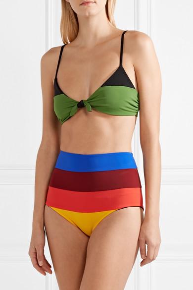 Mara Hoffman Lydia hoch sitzendes Bikini-Höschen mit Streifen