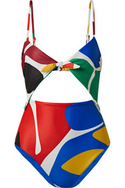 Kia cutout printed swimsuit