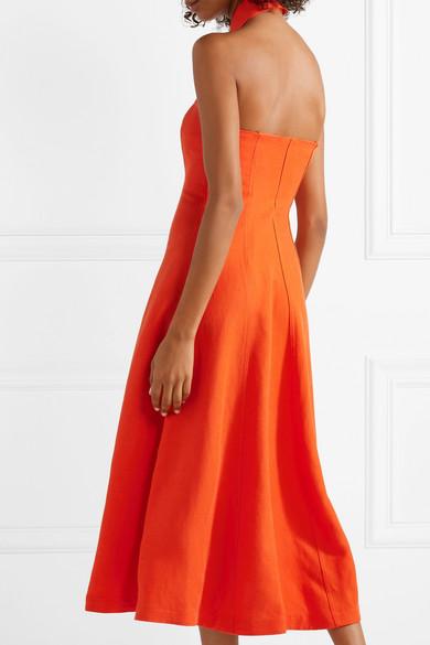 Veronique Tencel And Linen-blend Halterneck Dress - Bright orange Mara Hoffman Ny8kiU