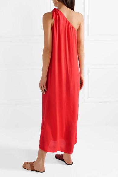Mara Hoffman Camilla mehrlagiges Voile-Kleid mit asymmetrischer Schulterpartie